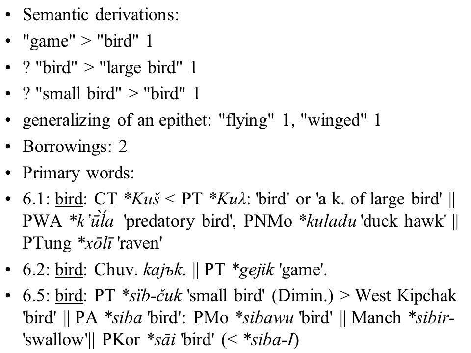 Semantic derivations: game > bird 1 . bird > large bird 1 .