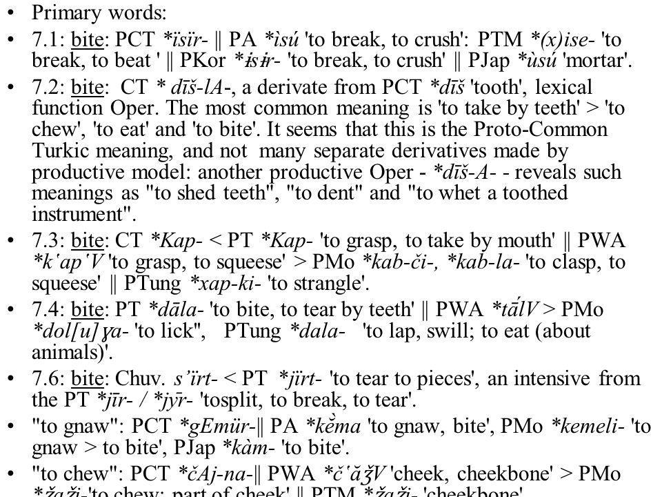 Primary words: 7.1: bite: PCT *ïsïr- || PA *ìsú to break, to crush : PTM *(x)ise- to break, to beat || PKor * ɨ s ɨ r- to break, to crush || PJap *ùsú mortar .