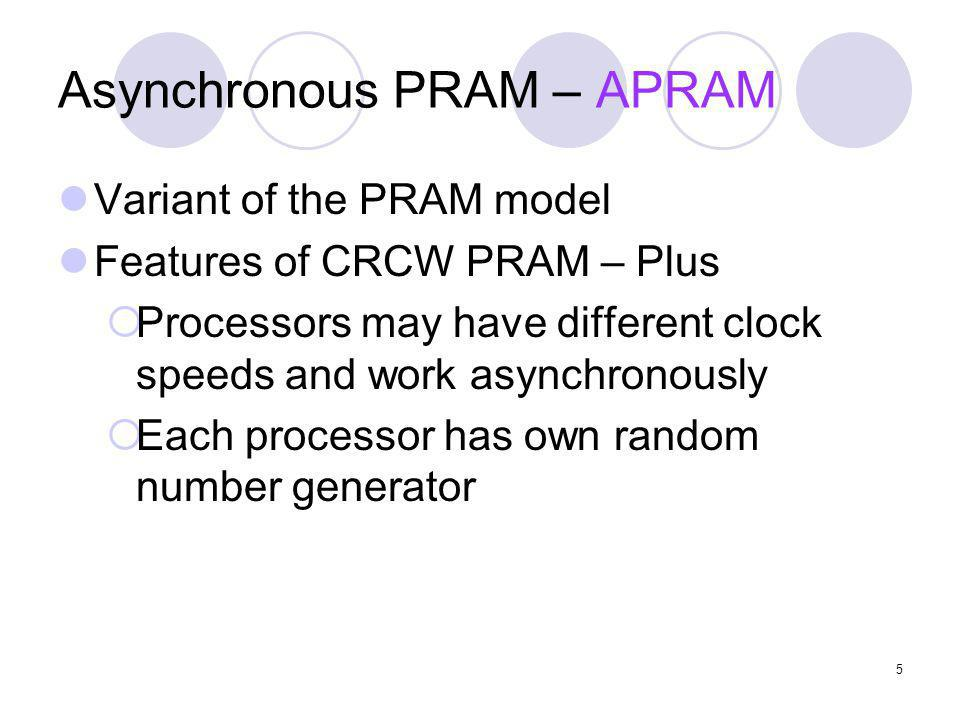 Asynchronous PRAM – APRAM Variant of the PRAM model Features of CRCW PRAM – Plus Processors may have different clock speeds and work asynchronously Ea