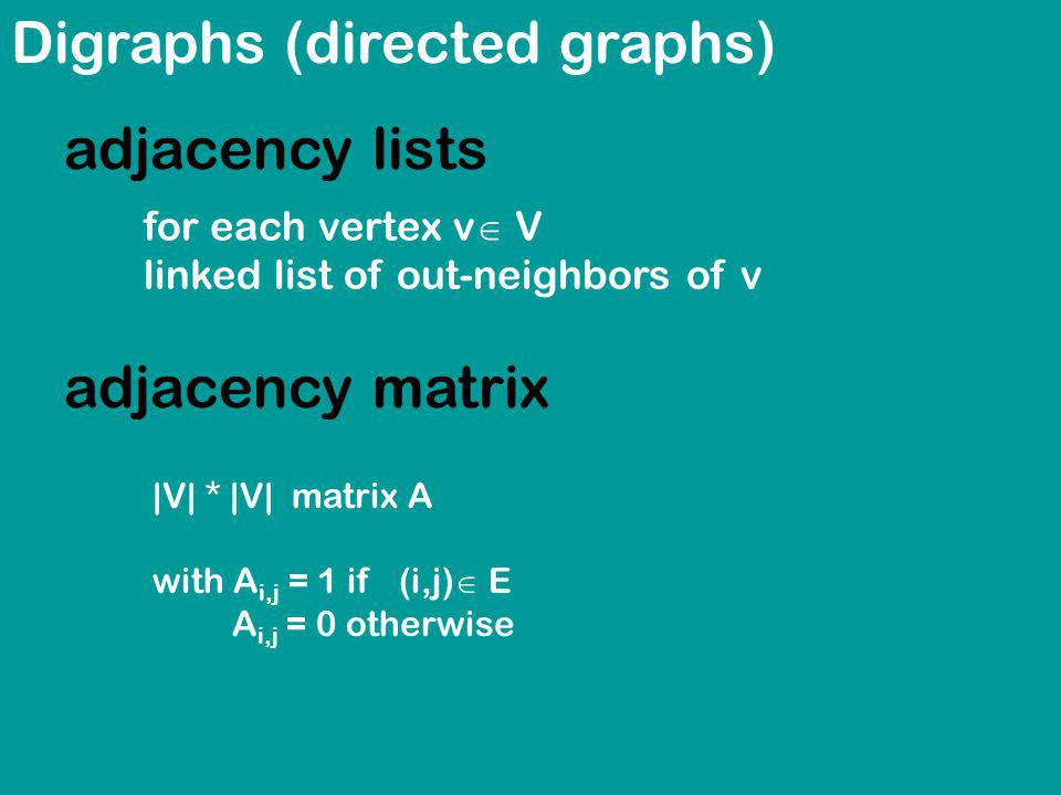 Digraphs (directed graphs) adjacency lists for each vertex v V linked list of out-neighbors of v |V| * |V| matrix A with A i,j = 1 if (i,j) E A i,j = 0 otherwise adjacency matrix
