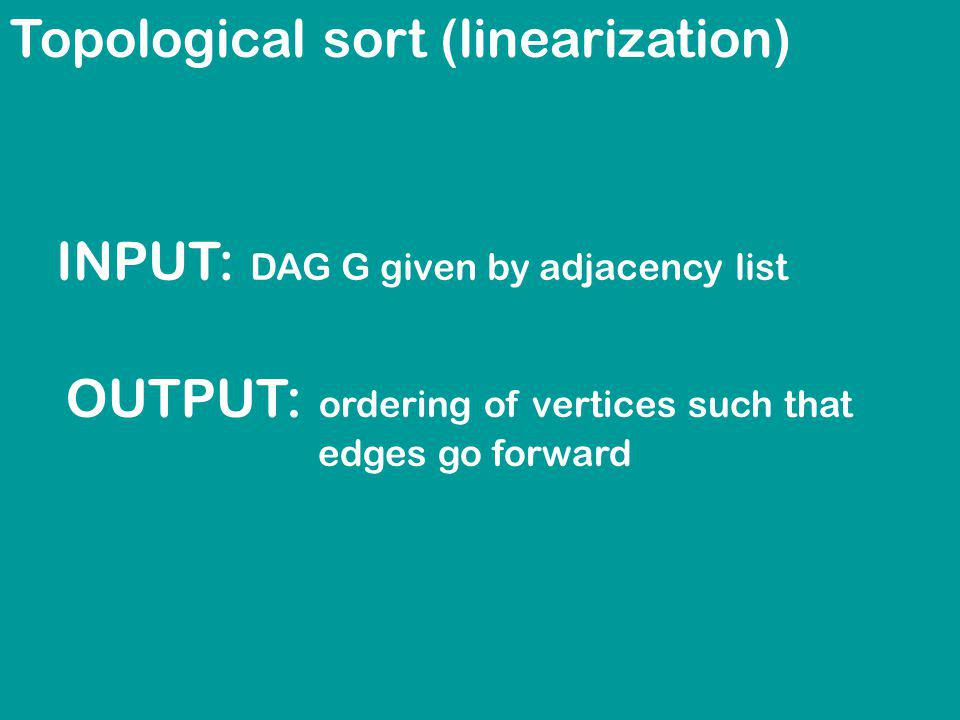 Topological sort (linearization) INPUT: DAG G given by adjacency list OUTPUT: ordering of vertices such that edges go forward