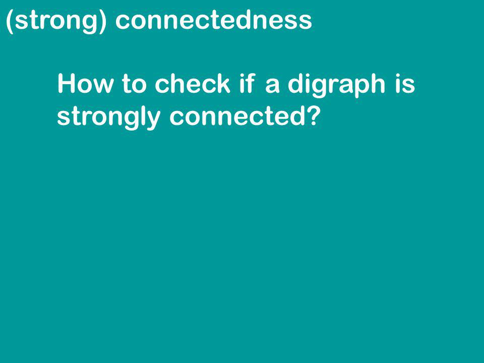 (strong) connectedness How to check if a digraph is strongly connected?