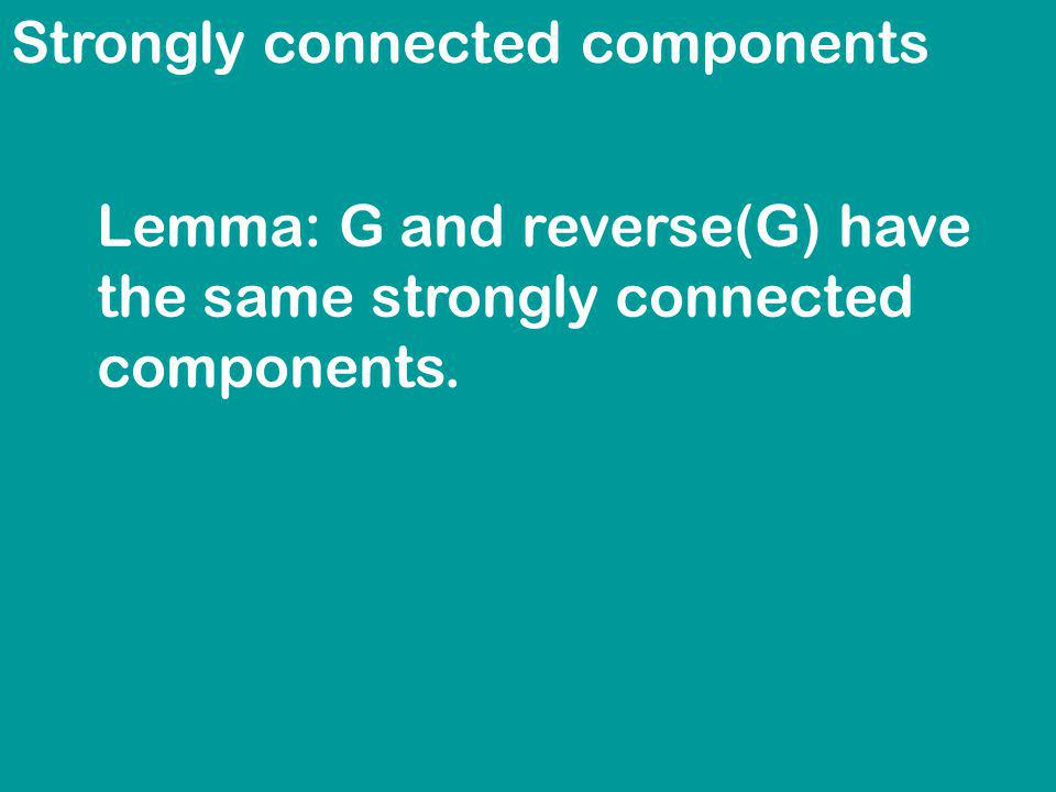 Strongly connected components Lemma: G and reverse(G) have the same strongly connected components.