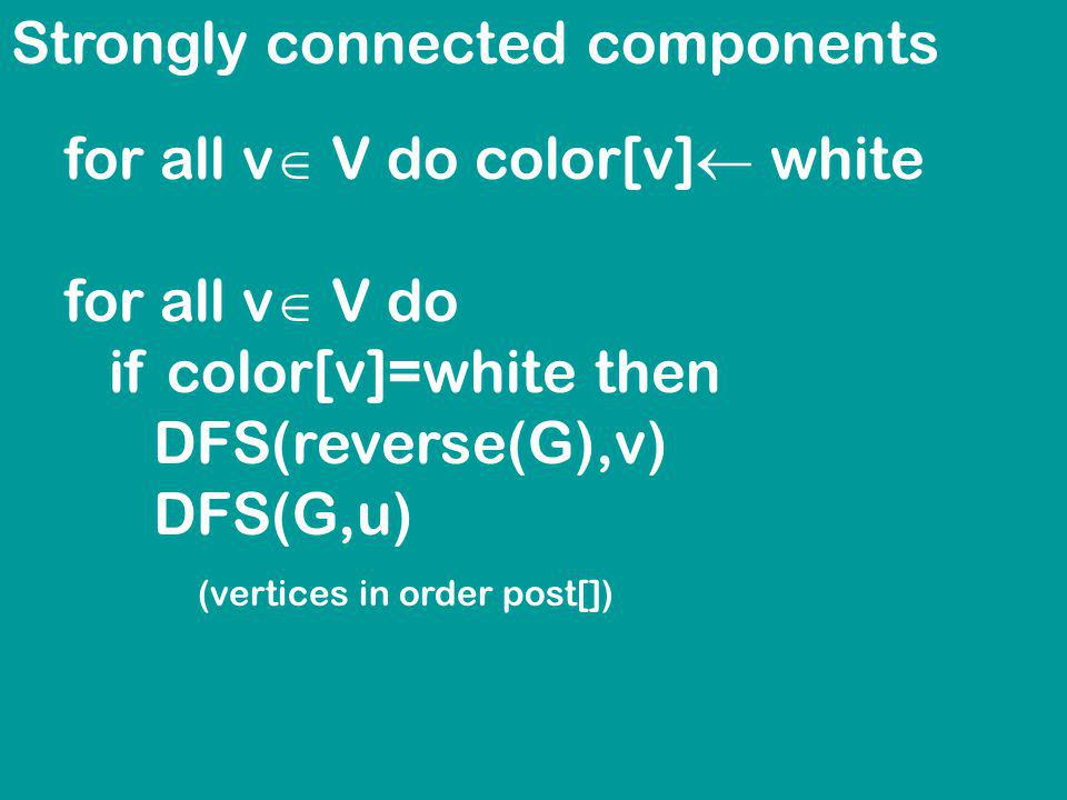 Strongly connected components for all v V do color[v] white for all v V do if color[v]=white then DFS(reverse(G),v) DFS(G,u) (vertices in order post[])