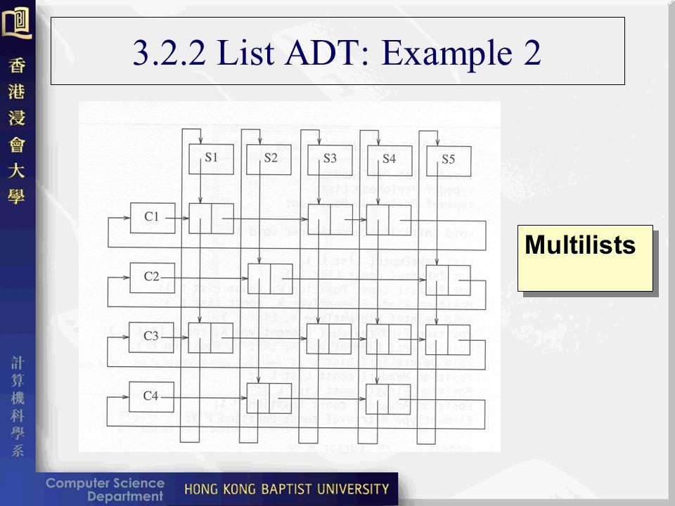 3.2.2 List ADT: Example 2 Multilists