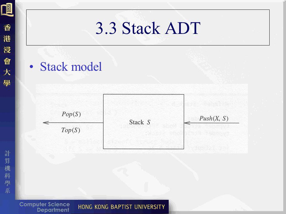 3.3 Stack ADT Stack model