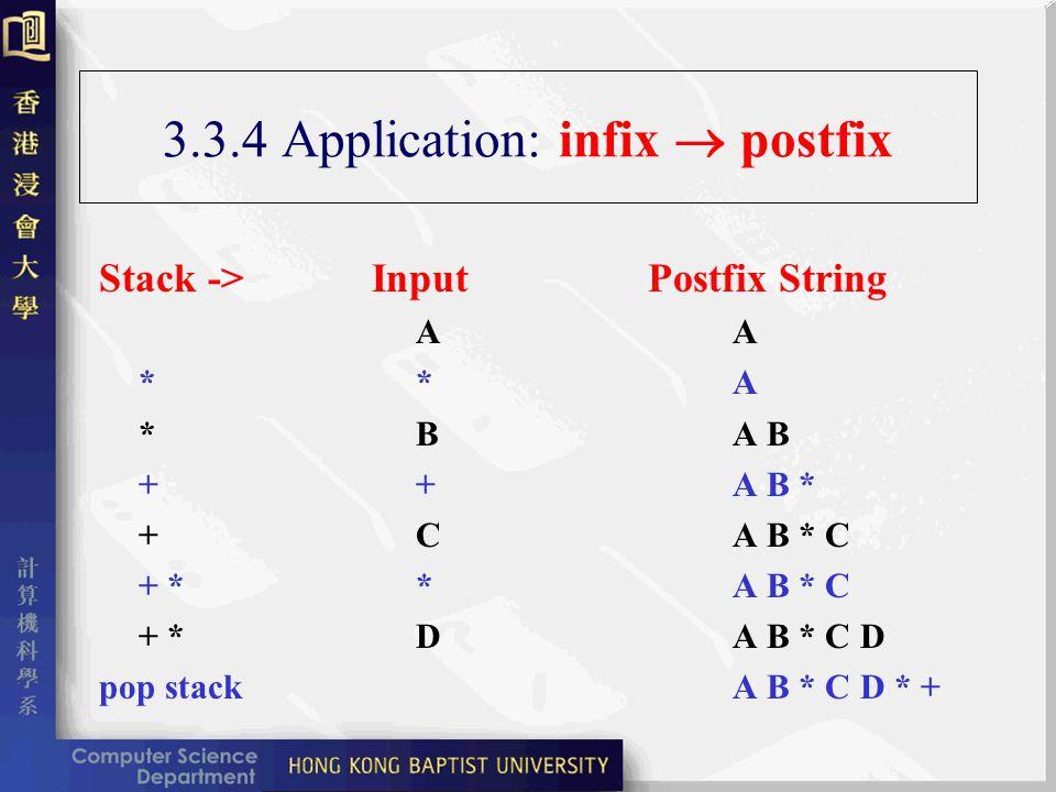 3.3.4 Application: infix postfix Stack -> Input Postfix StringA **A *BA B ++A B * +CA B * C + **A B * C + *DA B * C D pop stackA B * C D * +