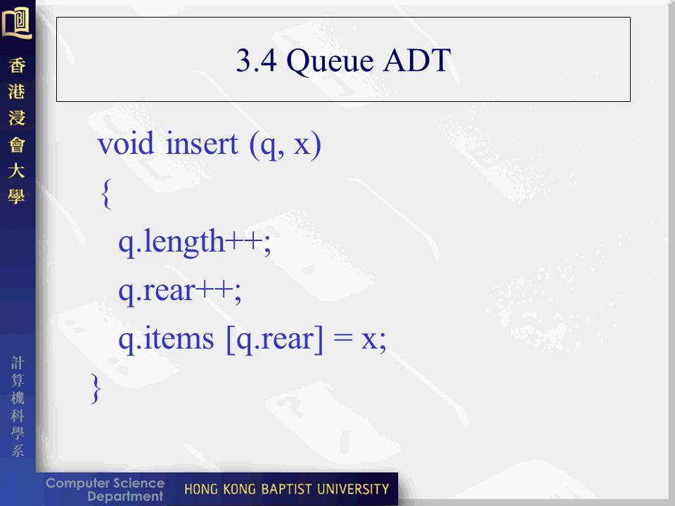 3.4 Queue ADT void insert (q, x) { q.length++; q.rear++; q.items [q.rear] = x; }