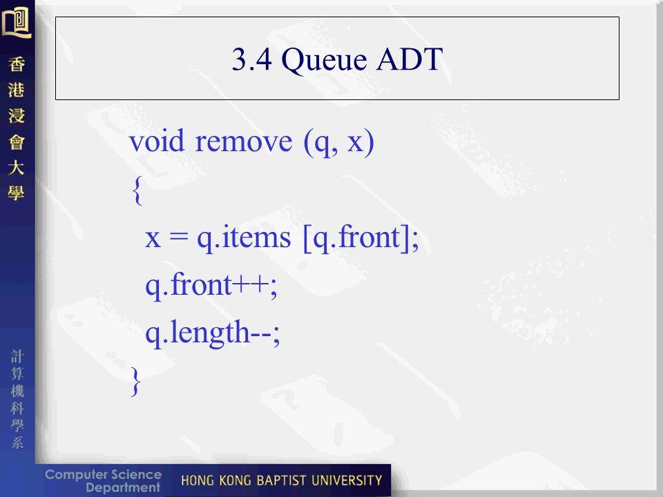3.4 Queue ADT void remove (q, x) { x = q.items [q.front]; q.front++; q.length--; }