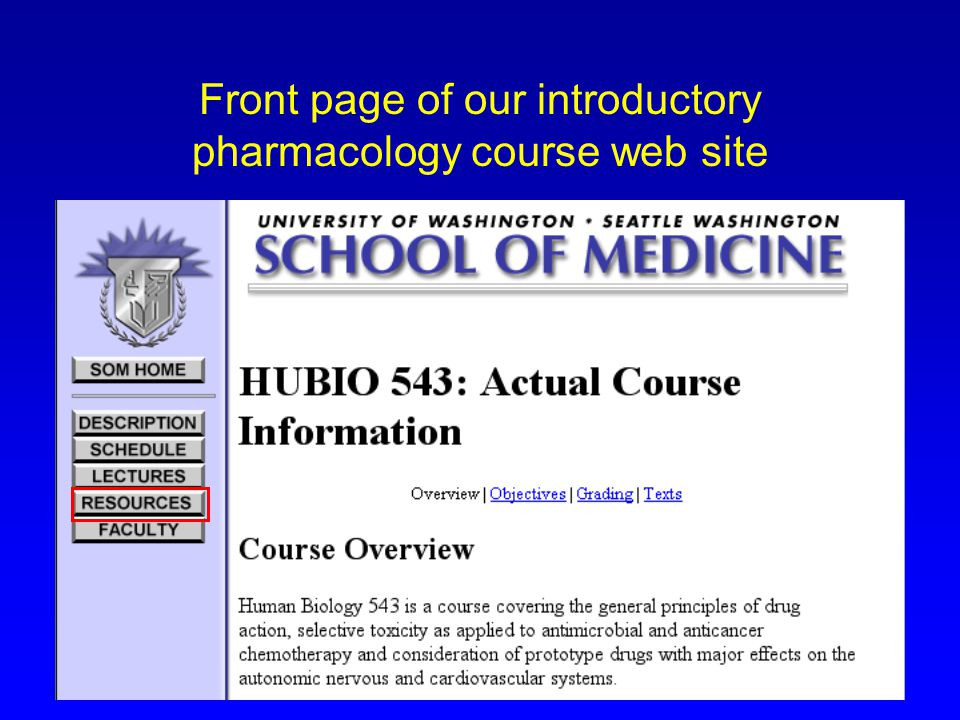 Front page of our introductory pharmacology course web site