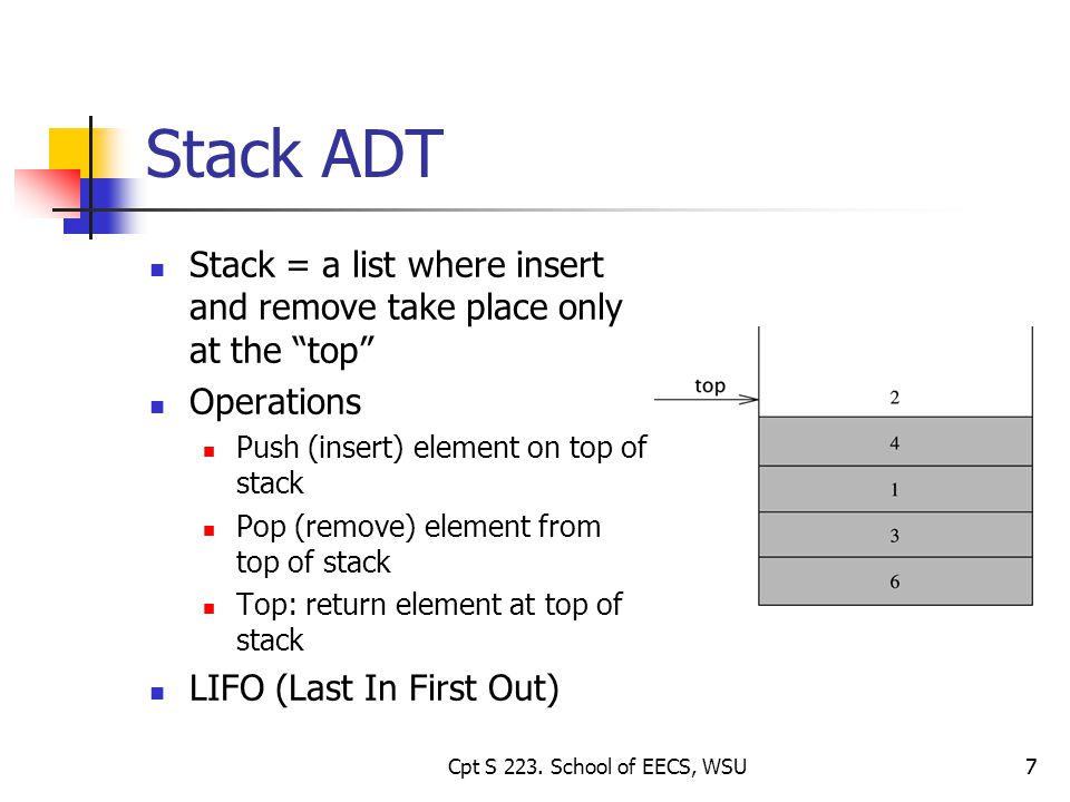 7 Stack ADT Stack = a list where insert and remove take place only at the top Operations Push (insert) element on top of stack Pop (remove) element from top of stack Top: return element at top of stack LIFO (Last In First Out) 7Cpt S 223.