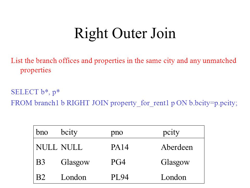 Right Outer Join List the branch offices and properties in the same city and any unmatched properties SELECT b*, p* FROM branch1 b RIGHT JOIN property_for_rent1 p ON b.bcity=p.pcity; bnobcitypno pcity NULLNULLPA14Aberdeen B3 GlasgowPG4Glasgow B2 London PL94London
