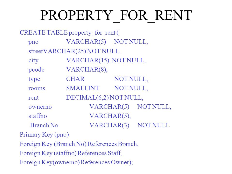 PROPERTY_FOR_RENT CREATE TABLE property_for_rent ( pnoVARCHAR(5) NOT NULL, streetVARCHAR(25) NOT NULL, city VARCHAR(15) NOT NULL, pcode VARCHAR(8), type CHAR NOT NULL, rooms SMALLINT NOT NULL, rentDECIMAL(6,2) NOT NULL, ownerno VARCHAR(5) NOT NULL, staffnoVARCHAR(5), Branch No VARCHAR(3) NOT NULL Primary Key (pno) Foreign Key (Branch No) References Branch, Foreign Key (staffno) References Staff, Foreign Key(ownerno) References Owner);
