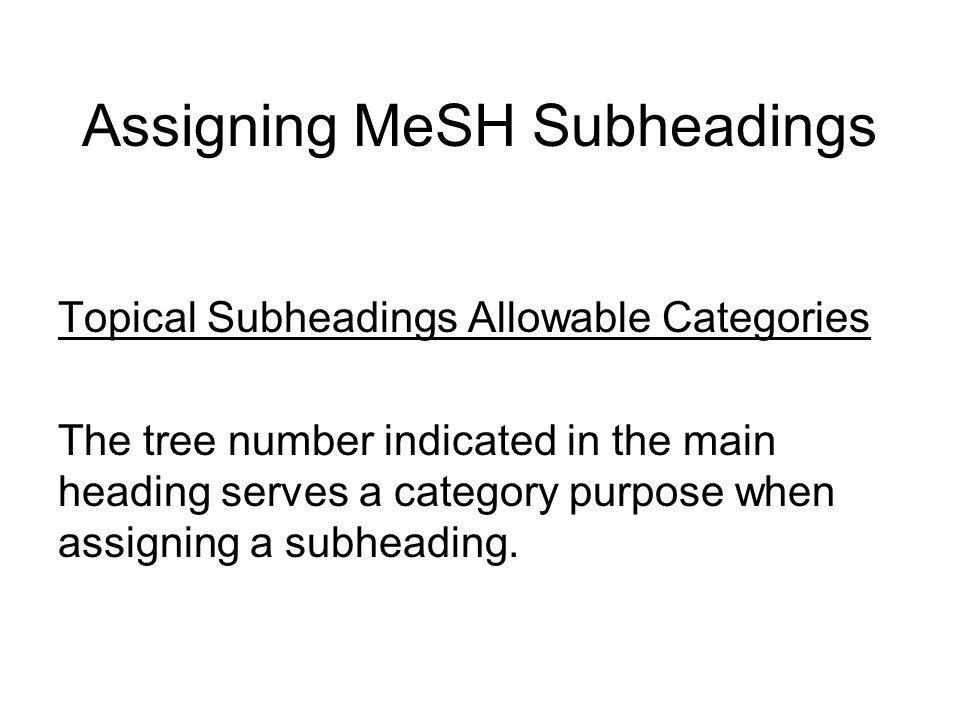 Assigning MeSH Subheadings Few headings contain 4 subheadings since language subheadings are extremely limited in application.