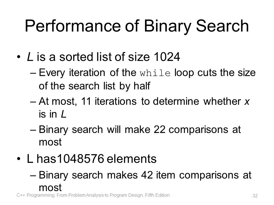 Performance of Binary Search L is a sorted list of size 1024 –Every iteration of the while loop cuts the size of the search list by half –At most, 11