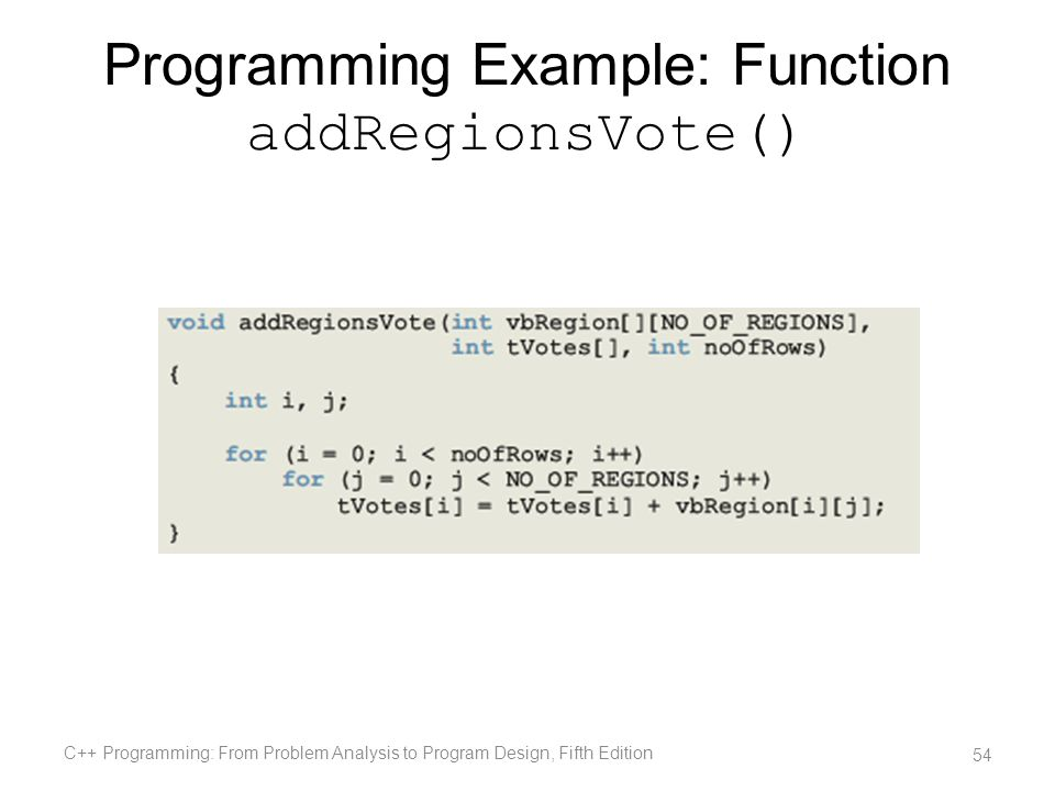 Programming Example: Function addRegionsVote() C++ Programming: From Problem Analysis to Program Design, Fifth Edition 54