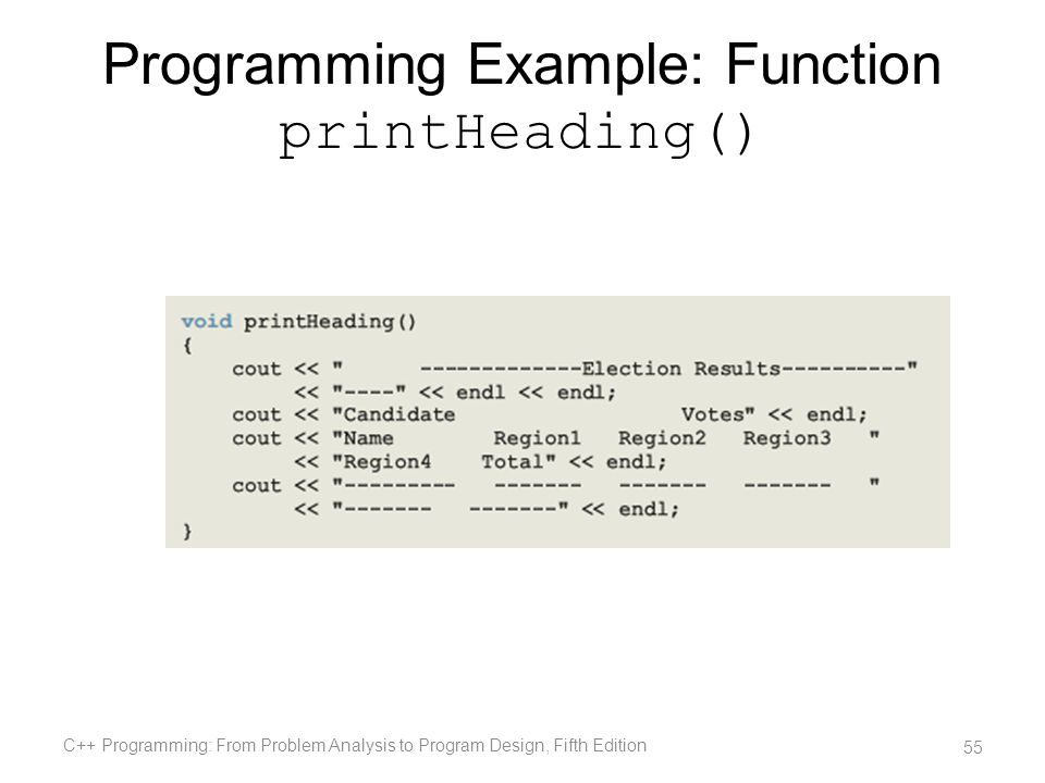 Programming Example: Function printHeading() C++ Programming: From Problem Analysis to Program Design, Fifth Edition 55