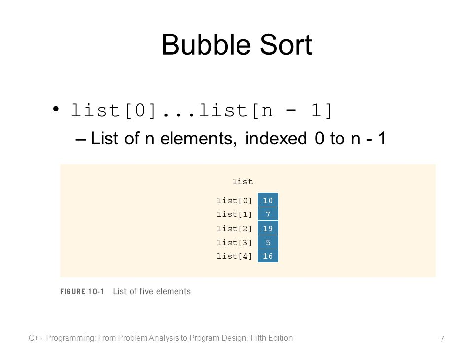 Selection Sort (cont d.) In the unsorted portion of the list: –Find the location of the smallest element –Move the smallest element to the beginning of the unsorted list C++ Programming: From Problem Analysis to Program Design, Fifth Edition 18