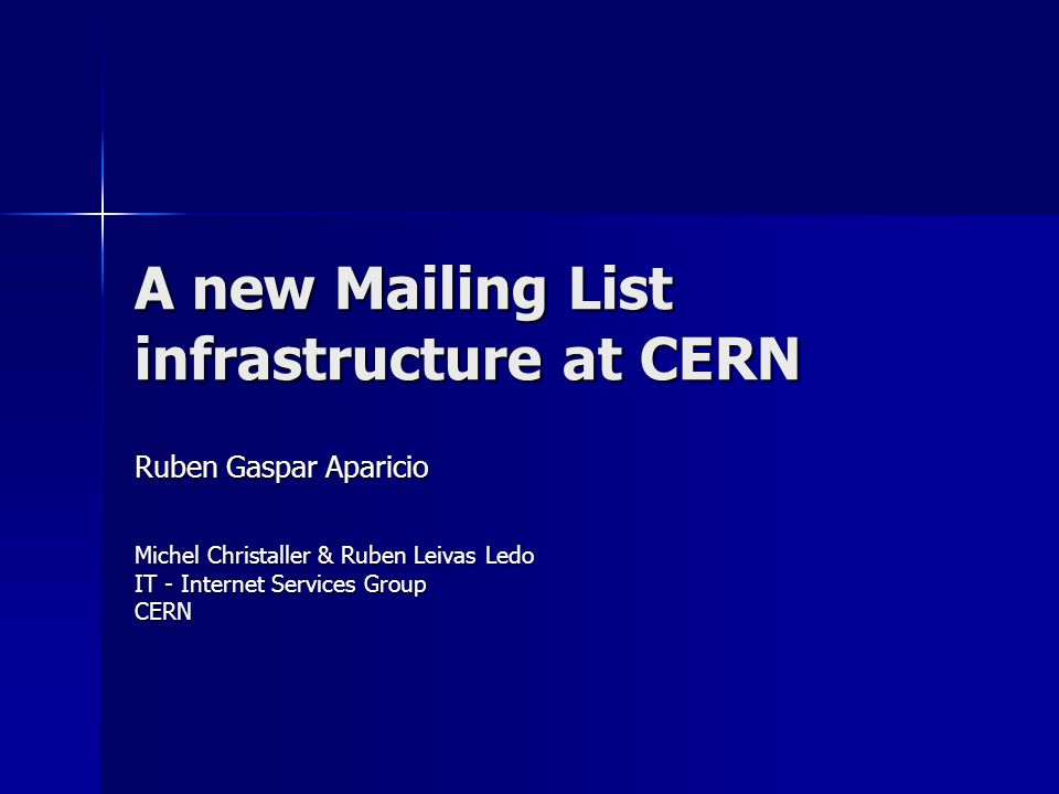 CERN Mail Service HEPIX – October 2004 New Listbox design User Objects (CERN accounts or Externals) User Objects (CERN accounts or Externals) Global security groups Global security groups –Owners –Members List ~ Public Folder with email @ List ~ Public Folder with email @ –Message sent to the PF Restriction on who can send messages Restriction on who can send messages Restriction on message size Restriction on message size Forwards to the group of members, possible delivery in the folder Forwards to the group of members, possible delivery in the folder –Web archive through OWA –Archive Permissions Owners Editor Owners Editor Members Non Editing Authors Members Non Editing Authors Owners can have more freedom for managing the archive.