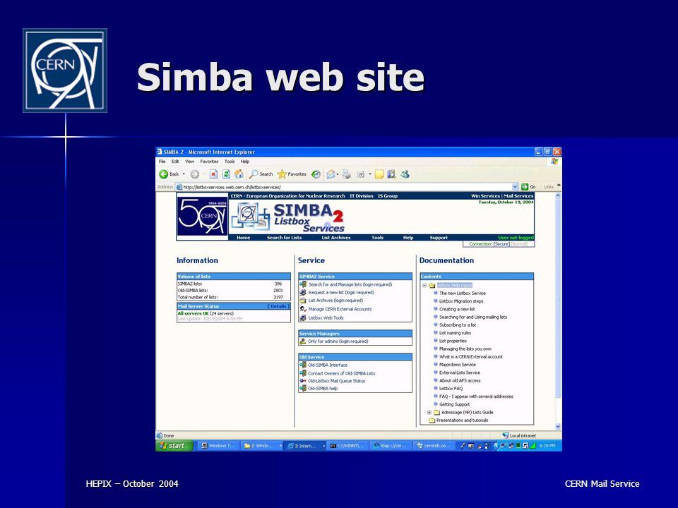 CERN Mail Service HEPIX – October 2004 Simba web site