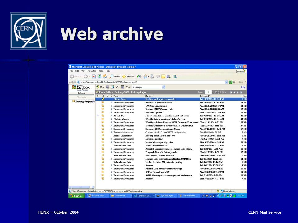 CERN Mail Service HEPIX – October 2004 Web archive