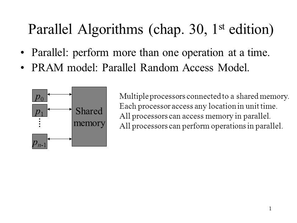 1 Parallel Algorithms (chap. 30, 1 st edition) Parallel: perform more than one operation at a time. PRAM model: Parallel Random Access Model. p0p0 p1p