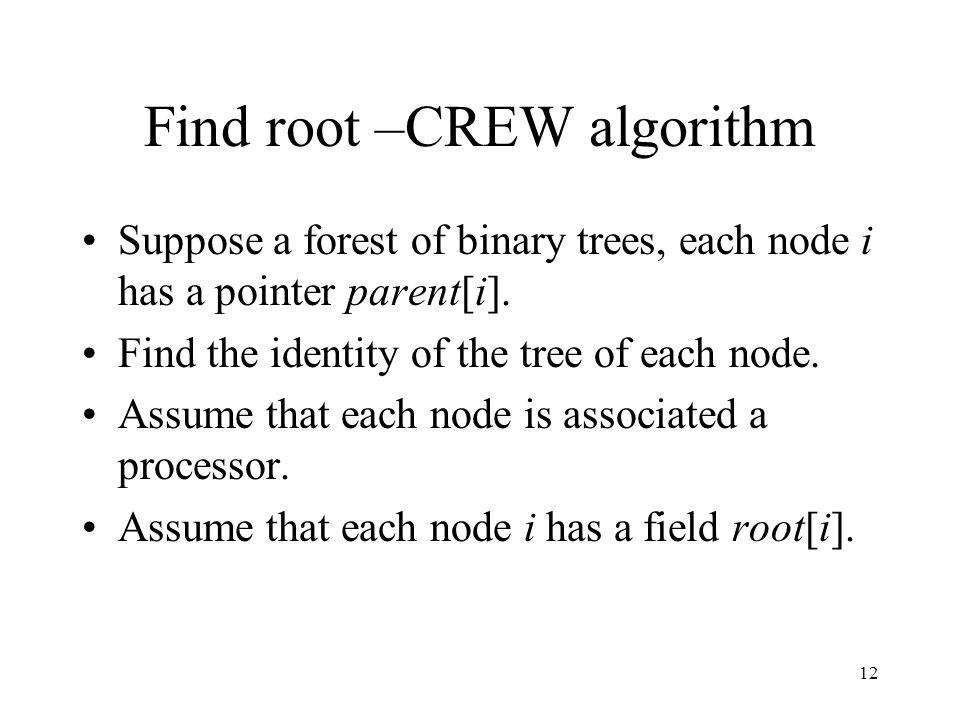 12 Find root –CREW algorithm Suppose a forest of binary trees, each node i has a pointer parent[i]. Find the identity of the tree of each node. Assume