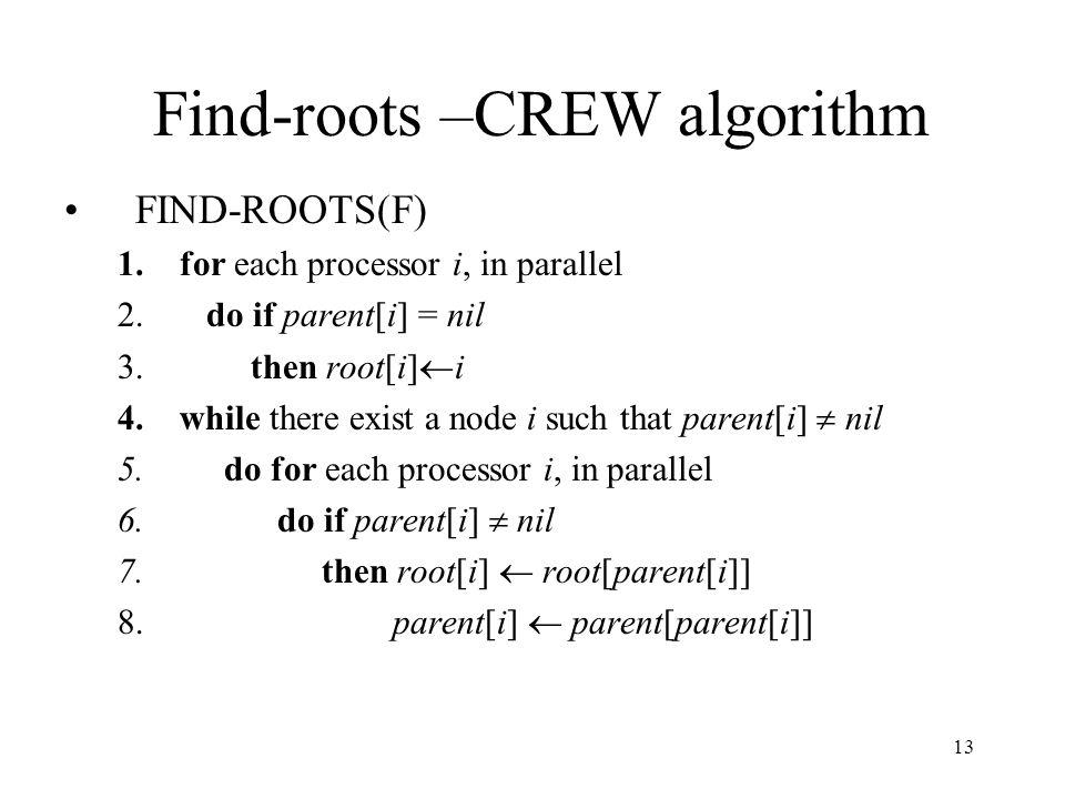 13 Find-roots –CREW algorithm FIND-ROOTS(F) 1.for each processor i, in parallel 2. do if parent[i] = nil 3. then root[i] i 4.while there exist a node