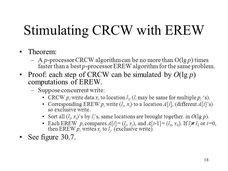 18 Stimulating CRCW with EREW Theorem: –A p-processor CRCW algorithm can be no more than O(lg p) times faster than a best p-processor EREW algorithm for the same problem.
