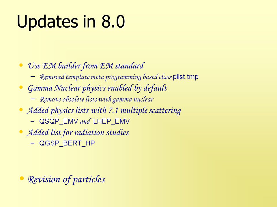 Updates in 8.1 Added list with more performant em options QGSP_EMX Introduce Chips modeling for stopping particles in all physics lists based on QGS and FTF.