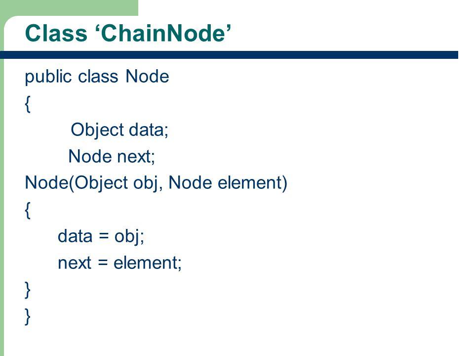 10 Class ChainNode public class Node { Object data; Node next; Node(Object obj, Node element) { data = obj; next = element; }