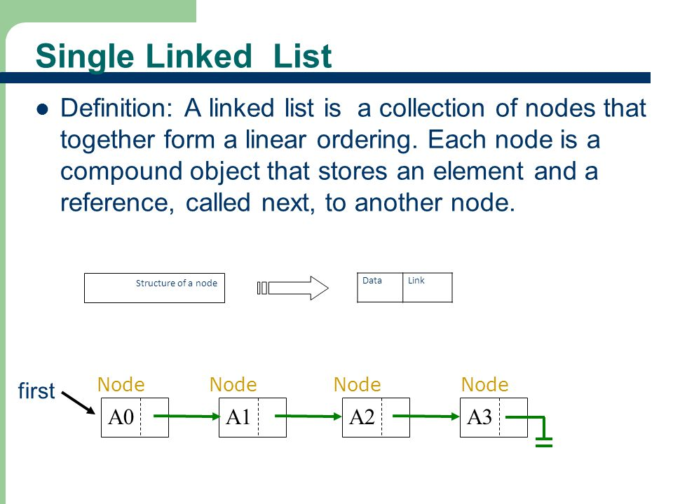 4 4 Characteristics Insert and delete nodes in any order The nodes are connected Each node has two components – Information (data) – Link to the next node The nodes are accessed through the links between them