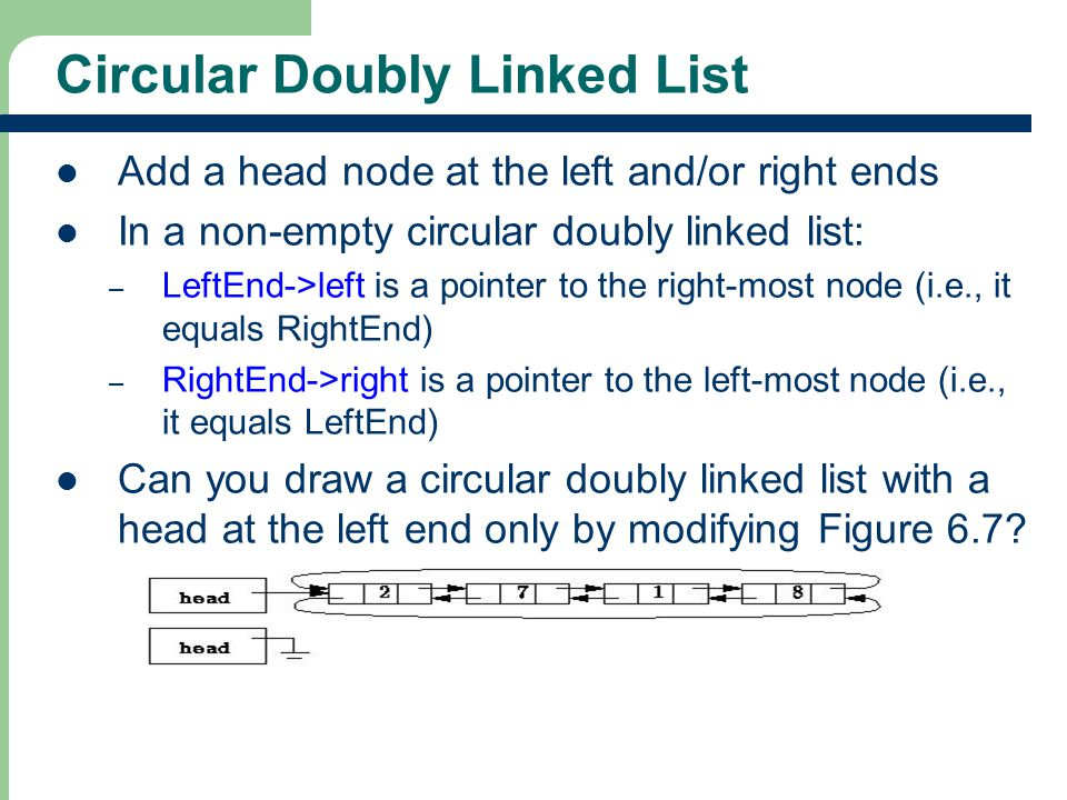34 Circular Doubly Linked List Add a head node at the left and/or right ends In a non-empty circular doubly linked list: – LeftEnd->left is a pointer