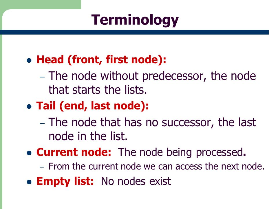 17 Code Fragment to delete first node public Node deleteHead() // delete head item { // (assumes list not empty) Node temp = head; // save reference to link head = head.next; / delete it: head-->old next return temp; // return deleted link } The time complexity O(1)