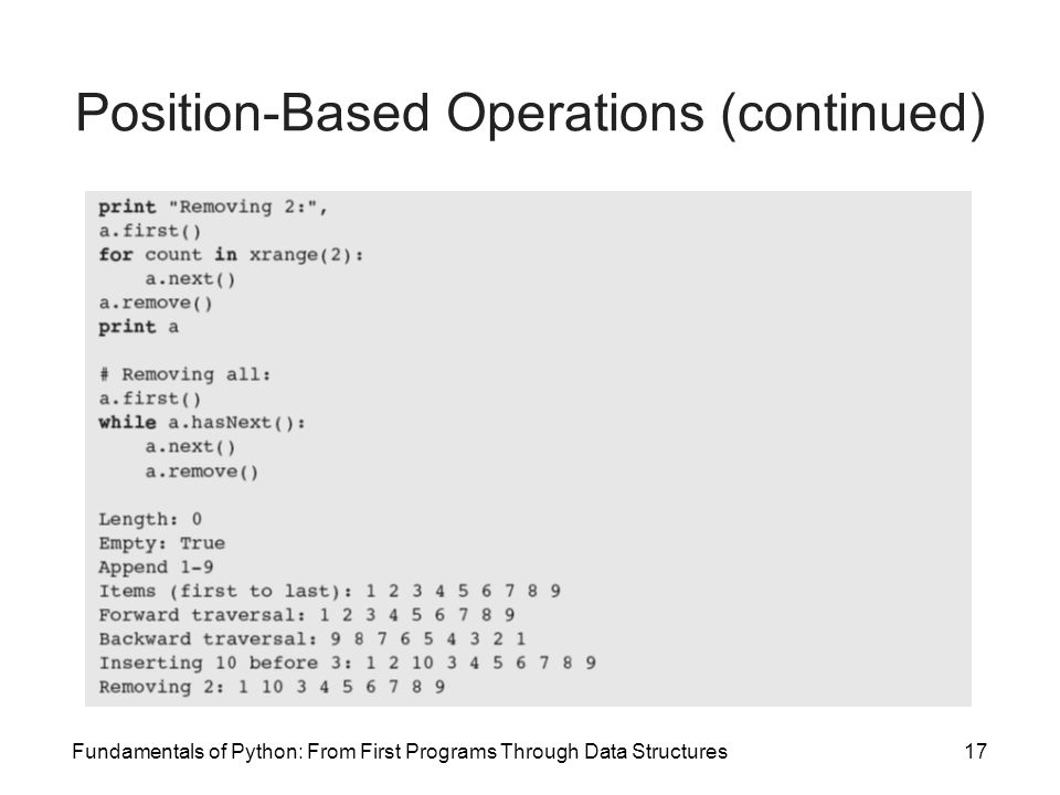 Fundamentals of Python: From First Programs Through Data Structures17 Position-Based Operations (continued)