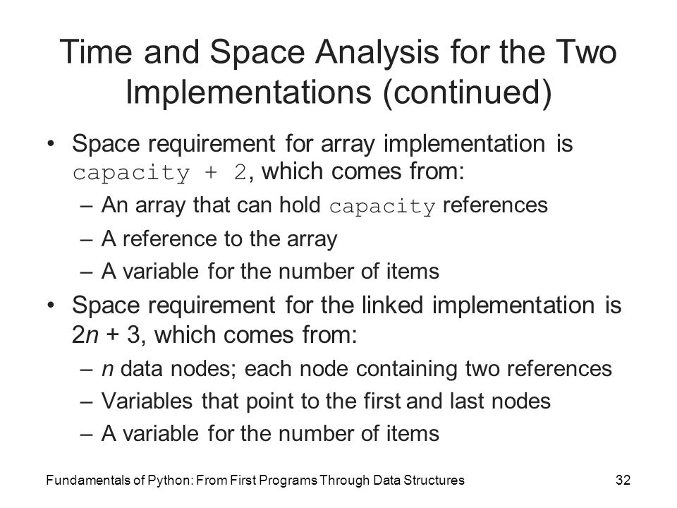 Fundamentals of Python: From First Programs Through Data Structures32 Time and Space Analysis for the Two Implementations (continued) Space requiremen