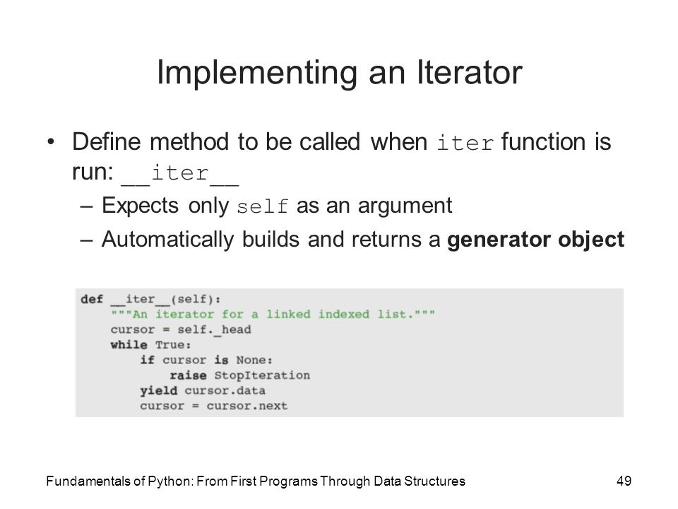 Fundamentals of Python: From First Programs Through Data Structures49 Implementing an Iterator Define method to be called when iter function is run: _