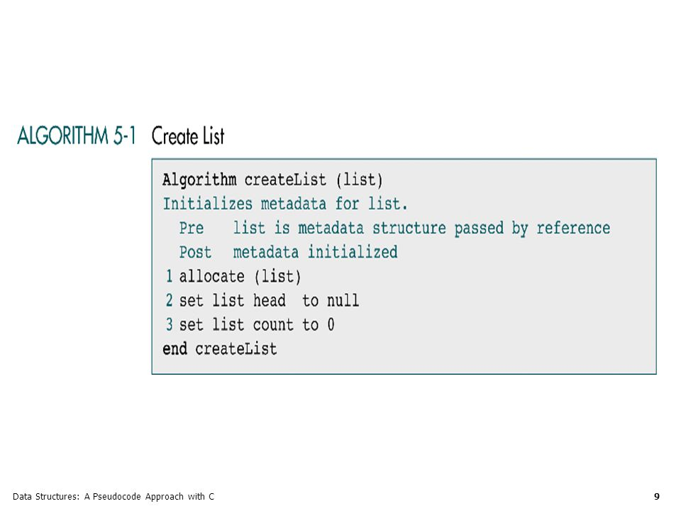 Data Structures: A Pseudocode Approach with C 20 List Search Given a target key, the ordered list search attempts to locate the requested node in the list.