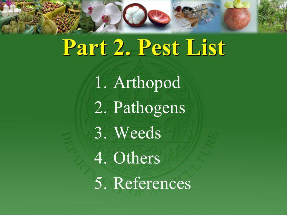 Part 2. Pest List 1.Arthopod 2.Pathogens 3.Weeds 4.Others 5.References