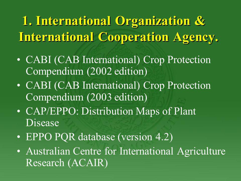1. International Organization & International Cooperation Agency. CABI (CAB International) Crop Protection Compendium (2002 edition) CABI (CAB Interna