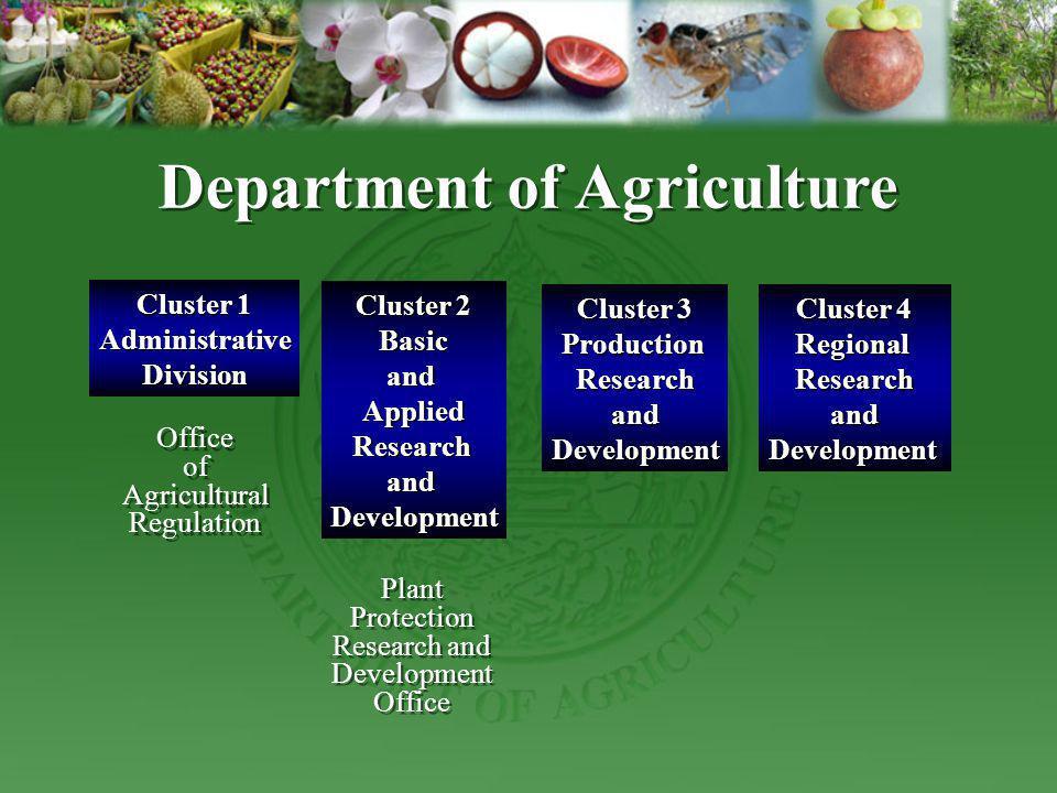 Cluster 1 AdministrativeDivision Cluster 2 BasicandAppliedResearchandDevelopment Department of Agriculture Cluster 3 ProductionResearchandDevelopment