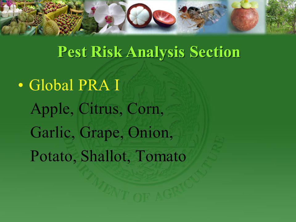 Global PRA I Apple, Citrus, Corn, Garlic, Grape, Onion, Potato, Shallot, Tomato Pest Risk Analysis Section