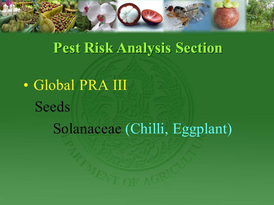 Global PRA III Seeds Solanaceae (Chilli, Eggplant) Pest Risk Analysis Section