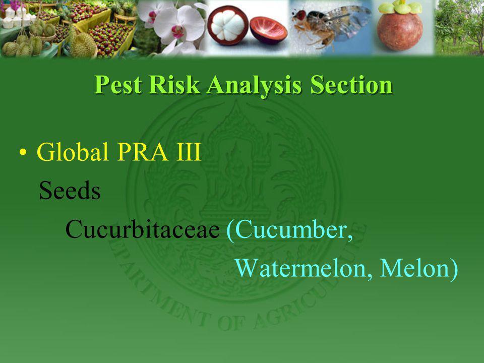 Global PRA III Seeds Cucurbitaceae (Cucumber, Watermelon, Melon) Pest Risk Analysis Section