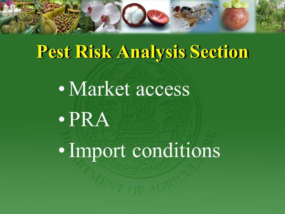 FOR EXPORT The Plant Quarantine Research Group, Plant Protection Research and Development office is to provided importing countries data information for Market access in to part as 1) Information Crop 2) Thailand Pest list.