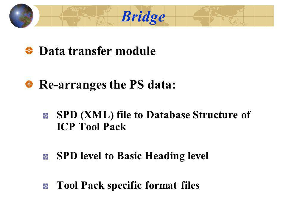 Data transfer module Re-arranges the PS data: SPD (XML) file to Database Structure of ICP Tool Pack SPD level to Basic Heading level Tool Pack specific format files Bridge