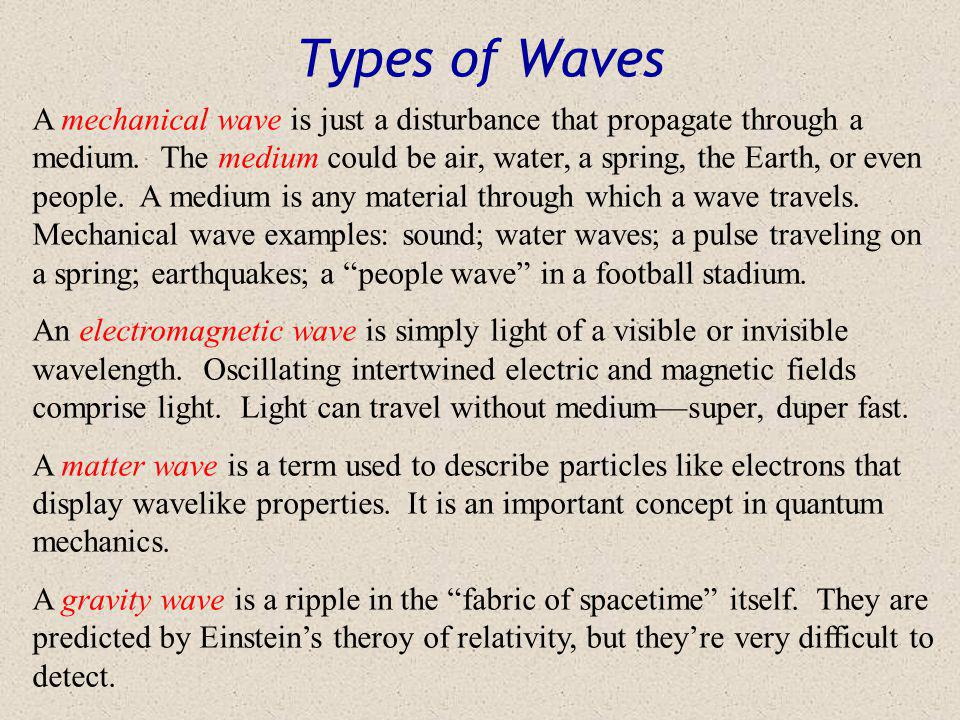 Reflection of Waves Whenever a wave encounters different medium, some of the wave may be reflected back, and some of the wave penetrate and be absorbed or transmitted through the new medium.