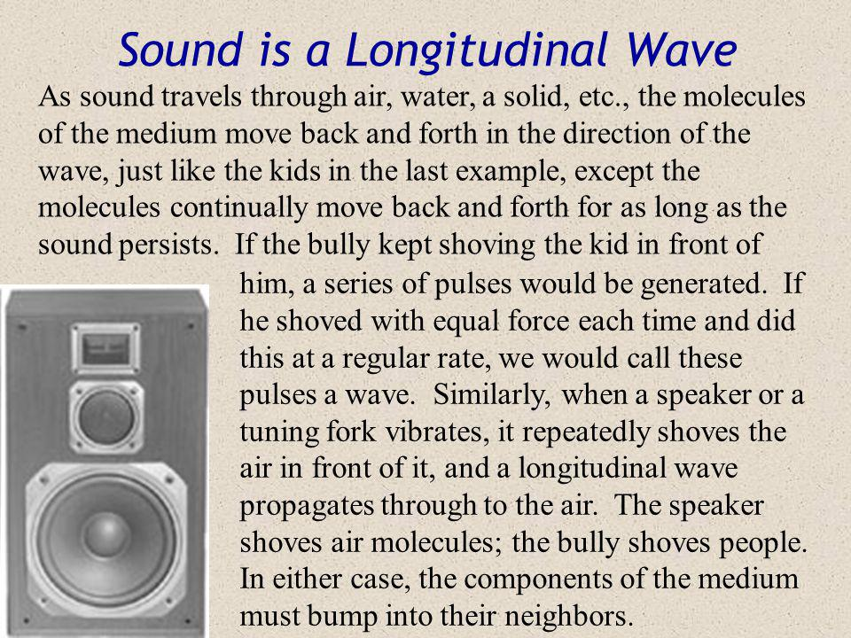 Longitinal Waves (cont.) Ouch ! C C C R R C = Compression (high kid density) R = Rarefaction (low kid density) The compression (the pulse) moves up th