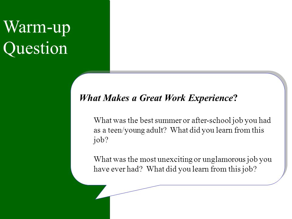 Job Descriptions - Project Ideas Projects may provide a chance to build career awareness, try out skills, and make a longer-term contribution to the work of the organization.