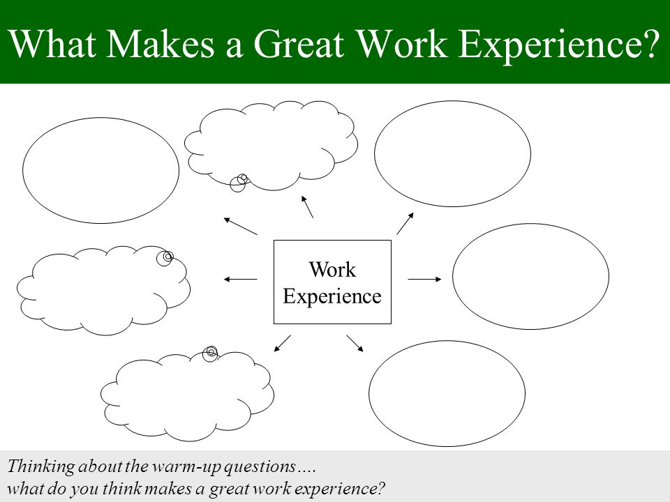 What Makes a Great Work Experience. Thinking about the warm-up questions….